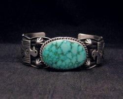 Andy Cadman Navajo Native American Kingman Web Turquoise Thunderbird Bracelet