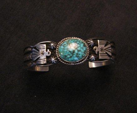 Image 8 of Navajo Native American Old Pawn Style Turquoise Thunderbird Bracelet Andy Cadman