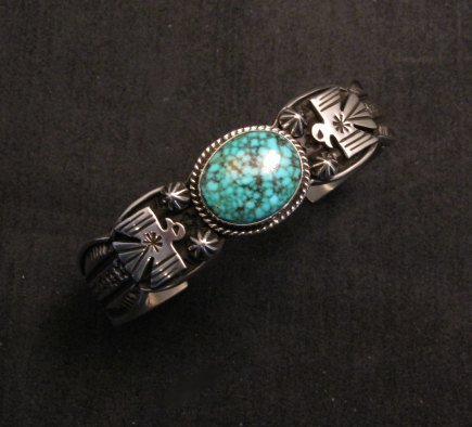 Image 0 of Navajo Native American Old Pawn Style Turquoise Thunderbird Bracelet Andy Cadman