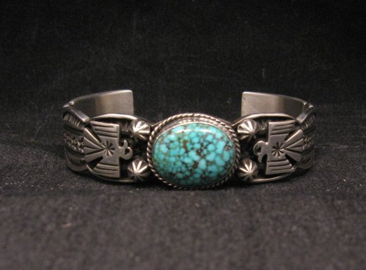 Image 1 of Navajo Native American Old Pawn Style Turquoise Thunderbird Bracelet Andy Cadman