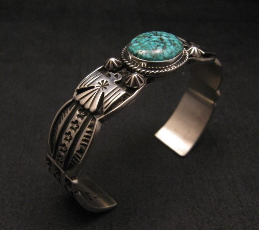 Image 2 of Navajo Native American Old Pawn Style Turquoise Thunderbird Bracelet Andy Cadman
