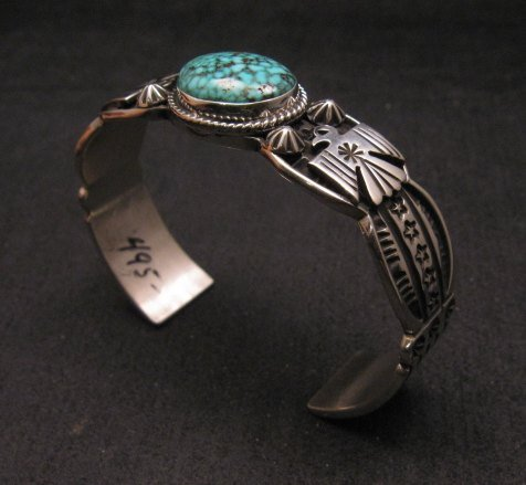 Image 3 of Navajo Native American Old Pawn Style Turquoise Thunderbird Bracelet Andy Cadman