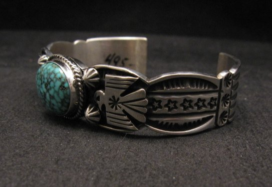 Image 4 of Navajo Native American Old Pawn Style Turquoise Thunderbird Bracelet Andy Cadman