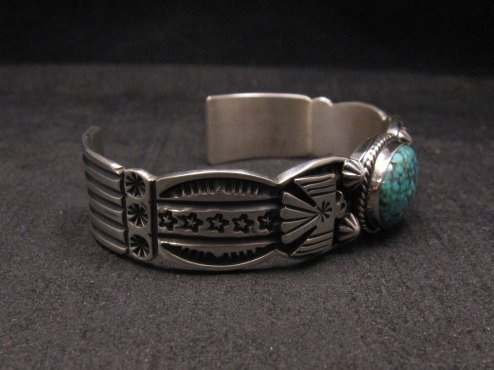 Image 5 of Navajo Native American Old Pawn Style Turquoise Thunderbird Bracelet Andy Cadman