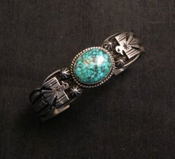 Navajo Native American Old Pawn Style Turquoise Thunderbird Bracelet Andy Cadman