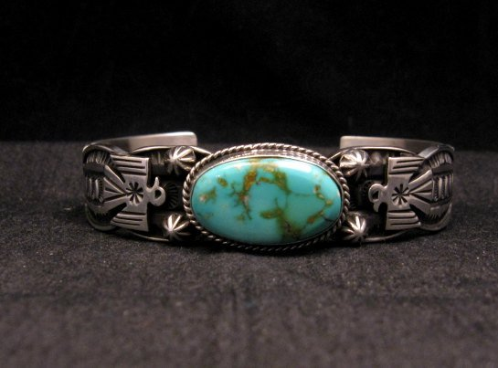 Image 0 of Navajo Native American Royston Turquoise Thunderbird Bracelet by Andy Cadman