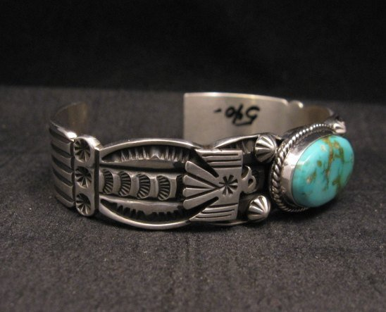 Image 1 of Navajo Native American Royston Turquoise Thunderbird Bracelet by Andy Cadman