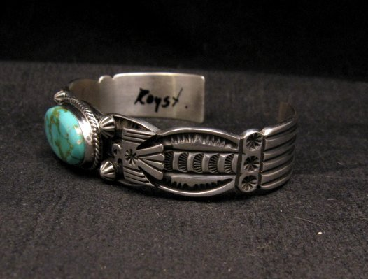Image 2 of Navajo Native American Royston Turquoise Thunderbird Bracelet by Andy Cadman