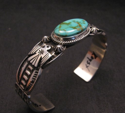 Image 3 of Navajo Native American Royston Turquoise Thunderbird Bracelet by Andy Cadman