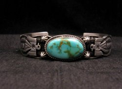 Navajo Native American Royston Turquoise Thunderbird Bracelet by Andy Cadman