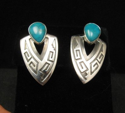 Image 0 of Navajo Native American Sterling Turquoise Earrings, Everett & Mary Teller