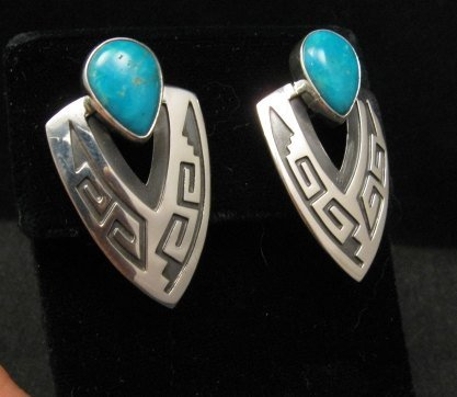 Image 1 of Navajo Native American Sterling Turquoise Earrings, Everett & Mary Teller