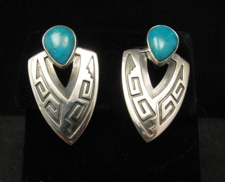 Image 3 of Navajo Native American Sterling Turquoise Earrings, Everett & Mary Teller