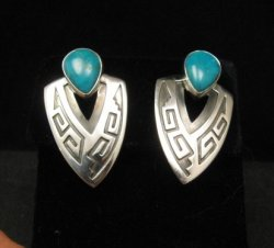 Navajo Native American Sterling Turquoise Earrings, Everett & Mary Teller