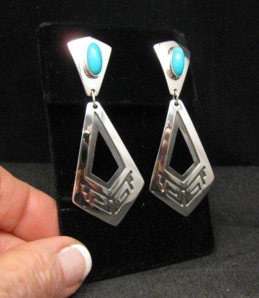 Image 1 of Long 2-pc Navajo Native American Turquoise Earrings, Everett & Mary Teller