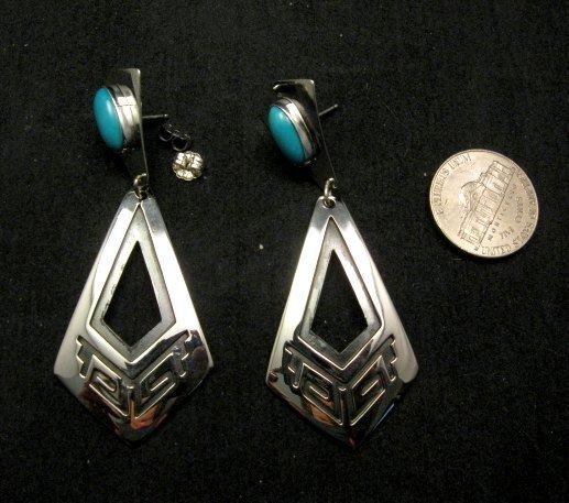 Image 2 of Long 2-pc Navajo Native American Turquoise Earrings, Everett & Mary Teller