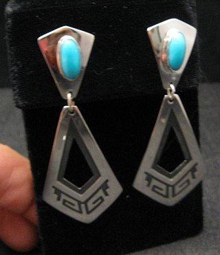 Image 3 of Long 2-pc Navajo Native American Turquoise Earrings, Everett & Mary Teller