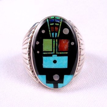 Image 0 of Navajo Native American Nite Yei Inlay Ring, Albert Tapaha, Sz13