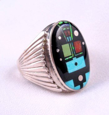 Image 1 of Navajo Native American Nite Yei Inlay Ring, Albert Tapaha, Sz13