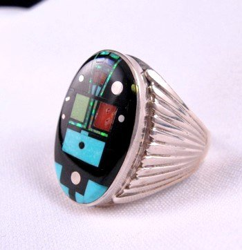 Image 2 of Navajo Native American Nite Yei Inlay Ring, Albert Tapaha, Sz13