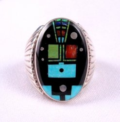 Navajo Native American Nite Yei Inlay Ring, Albert Tapaha, Sz13