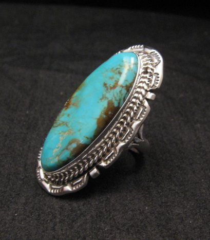Image 1 of Long Native American Navajo Kingman Turquoise Silver Ring, Augestine Largo Sz8