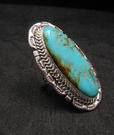 Image 2 of Long Native American Navajo Kingman Turquoise Silver Ring, Augestine Largo Sz8