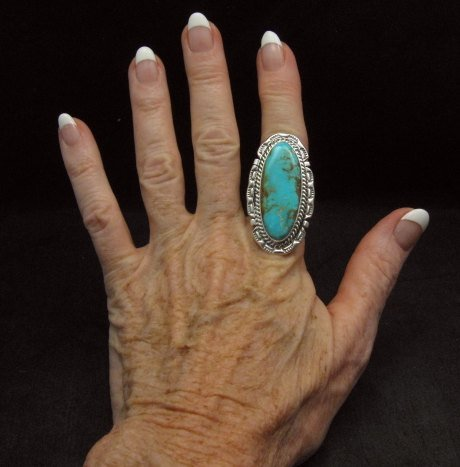 Image 3 of Long Native American Navajo Kingman Turquoise Silver Ring, Augestine Largo Sz8