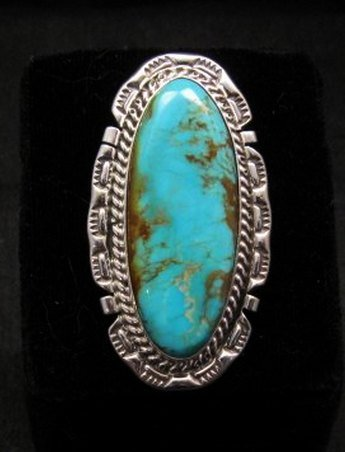 Image 0 of Long Native American Navajo Kingman Turquoise Silver Ring, Augestine Largo Sz8