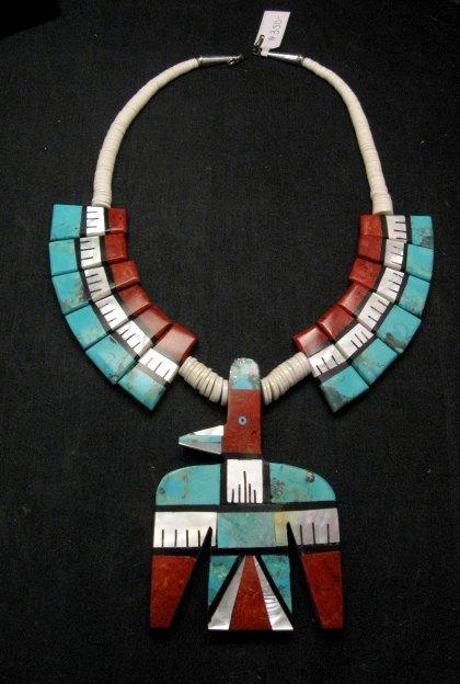 Image 0 of Big Santo Domingo Thunderbird Inlaid Tab Necklace, Delbert Crespin