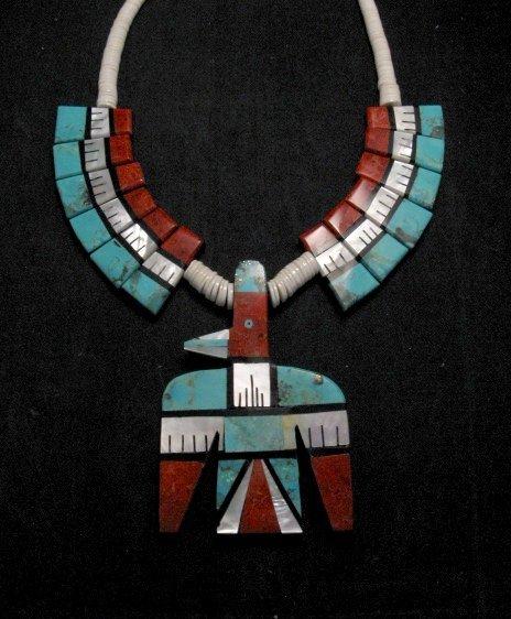 Image 5 of Big Santo Domingo Thunderbird Inlaid Tab Necklace, Delbert Crespin