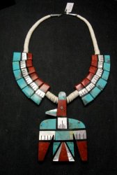 Big Santo Domingo Thunderbird Inlaid Tab Necklace, Delbert Crespin