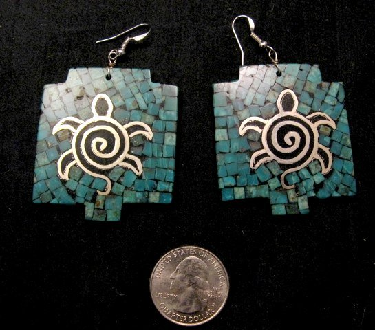 Image 2 of Big Santo Domingo Kewa ~ Timothy Bailon ~ Turquoise Inlay Turtle Earrings