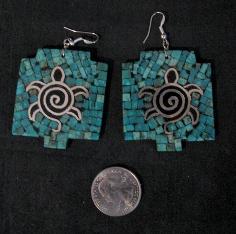 Image 0 of Big Santo Domingo Kewa ~ Timothy Bailon ~ Turquoise Inlay Turtle Earrings