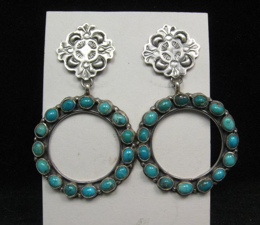 Image 2 of Annie Hoskie Navajo Native American Turquoise Circular Silver Earrings