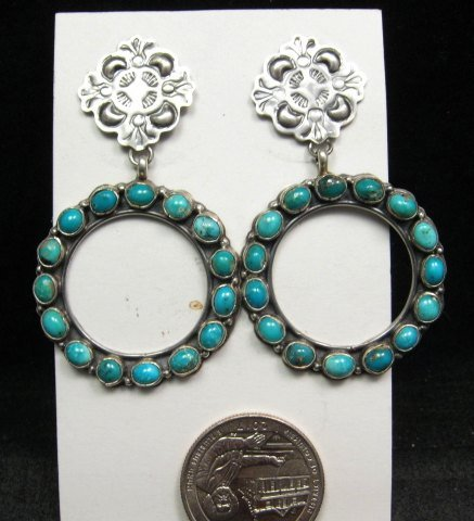 Image 1 of Annie Hoskie Navajo Native American Turquoise Circular Silver Earrings