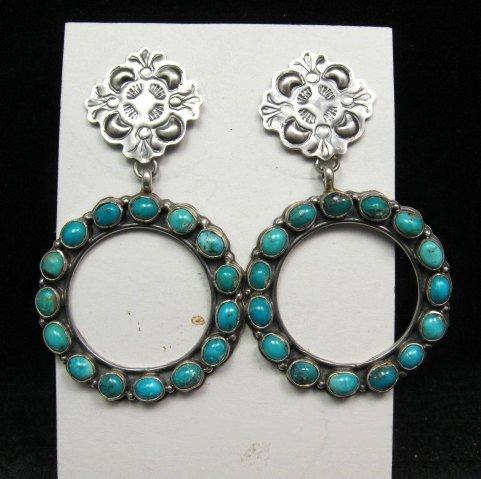Image 3 of Annie Hoskie Navajo Native American Turquoise Circular Silver Earrings