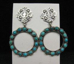 Annie Hoskie Navajo Native American Turquoise Circular Silver Earrings