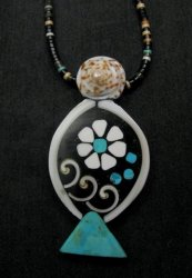 Unique Santo Domingo Kewa Mosaic Inlay Necklace, Mary Tafoya