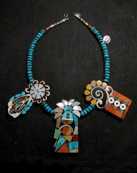 Image 0 of Colorful Santo Domingo Mary Tafoya Mosaic Inlay Turquoise Bead Necklace