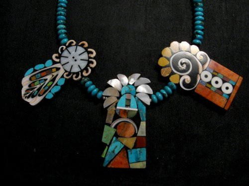 Image 1 of Colorful Santo Domingo Mary Tafoya Mosaic Inlay Turquoise Bead Necklace
