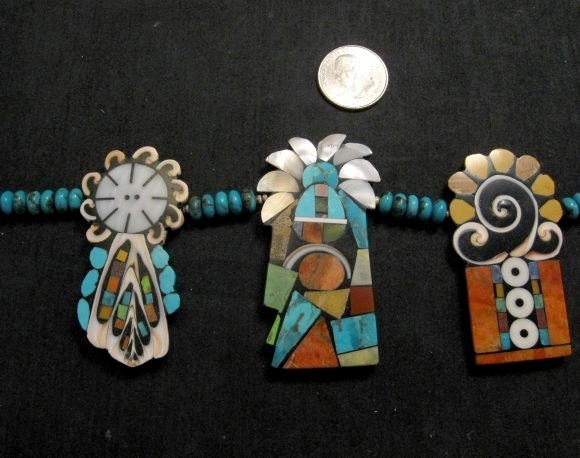 Image 2 of Colorful Santo Domingo Mary Tafoya Mosaic Inlay Turquoise Bead Necklace