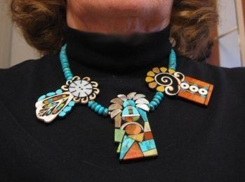 Image 4 of Colorful Santo Domingo Mary Tafoya Mosaic Inlay Turquoise Bead Necklace