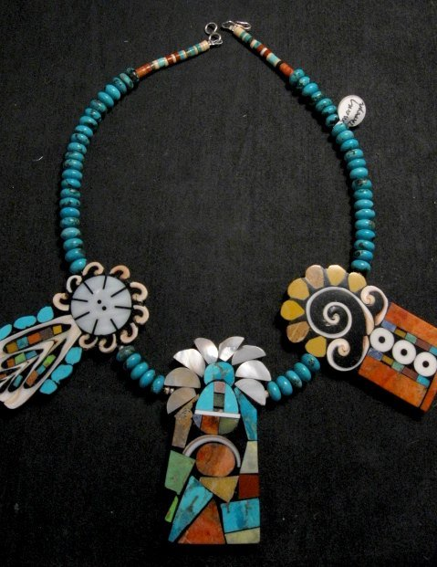 Image 6 of Colorful Santo Domingo Mary Tafoya Mosaic Inlay Turquoise Bead Necklace