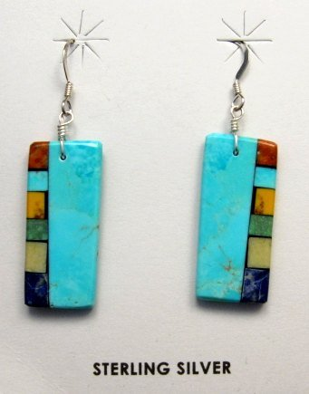 Image 0 of Turquoise Multi-colored Inlaid Earrings by Mary Tafoya, Santo Domingo
