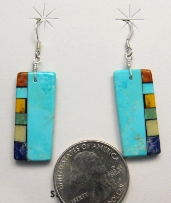 Image 1 of Turquoise Multi-colored Inlaid Earrings by Mary Tafoya, Santo Domingo