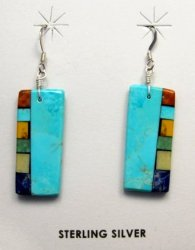 Turquoise Multi-colored Inlaid Earrings by Mary Tafoya, Santo Domingo