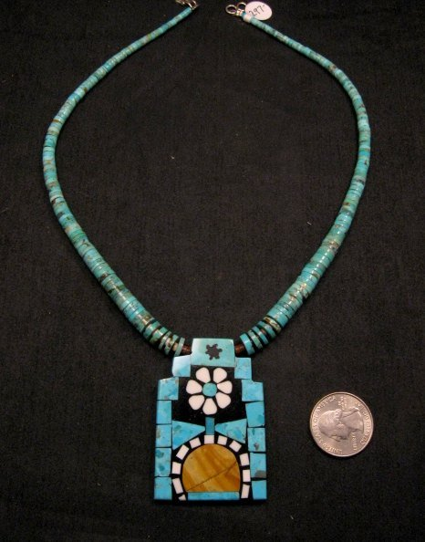 Image 0 of Colorful Santo Domingo Mosaic Inlay Turquoise Heishi Necklace, Mary Tafoya