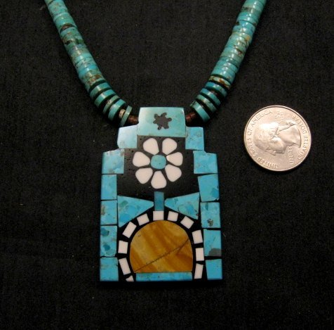 Image 1 of Colorful Santo Domingo Mosaic Inlay Turquoise Heishi Necklace, Mary Tafoya