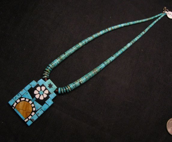 Image 2 of Colorful Santo Domingo Mosaic Inlay Turquoise Heishi Necklace, Mary Tafoya
